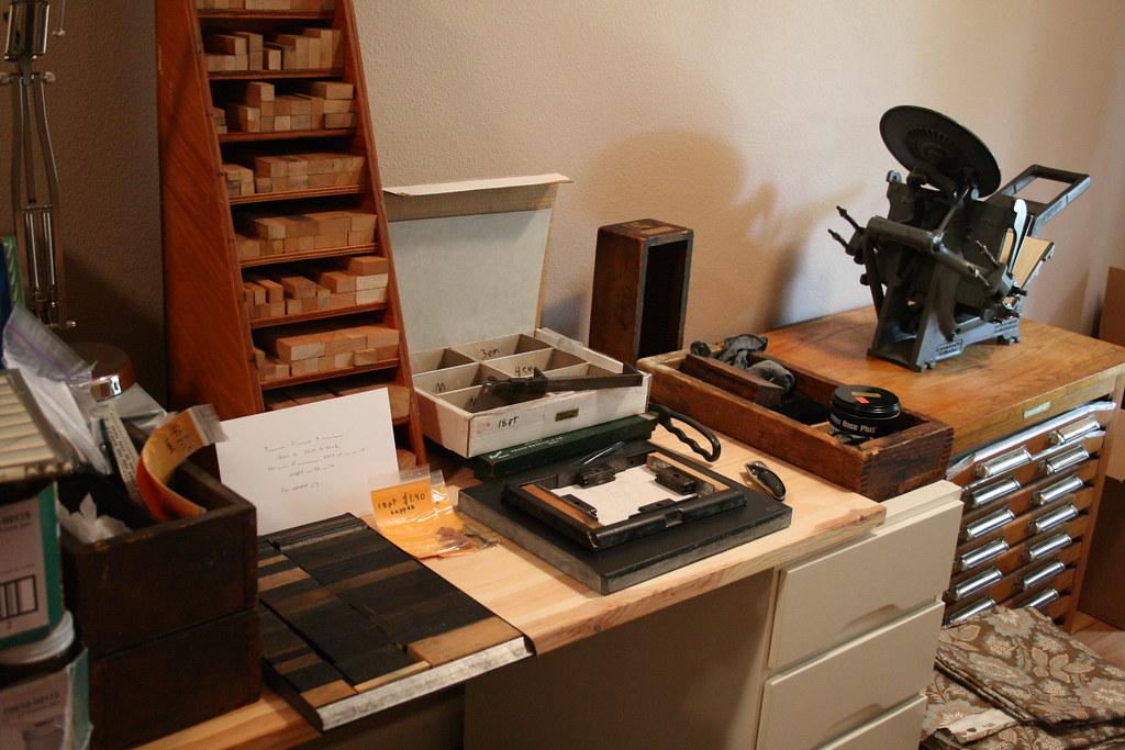 Small letterpress desk setup