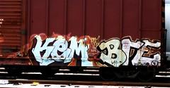 kem one (mightyquinninwky) Tags: geotagged graffiti tag tracks bre tags tagged rails spraypaint boxcar graff 619 graphiti gravel kem trainart paintedtrain railart spraypaintart kemone evansvilleindiana paintedboxcar  darkasf geo:lat=37951939 geo:lon=87619003