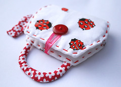 Give away - needlebook (Ma.rysia) Tags: flowers red white cute giveaway quilting button ladybug teapot pincushion needlebook marysia
