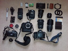 My kit (Gary Sutton) Tags: red macro 6x6 ex zeiss canon 50mm pentax cosina flash sigma 360 super apo led torch filter medium format kit f18 grip polarizer ikon f28 camerabag bg circular eos3 dg e5 fifty nifty 30d ikophot jessops 70300 2470mm p30t nettar afd sekonic eos30d 308s