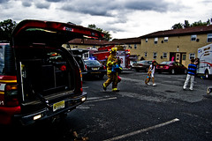 Apartment Catches Fire (This Very Moment...) Tags: new light people rescue news color building truck fire nikon fighter apartment smoke crowd north olive police mount help jersey vehicle catches squad flashing emergency officer township d40