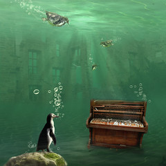 The musician (Martine Roch) Tags: ocean sea green water animal square ruins underwater piano surreal bubbles photomontage imagination pinguin manray digitalcollage lostworld petitechose martineroch