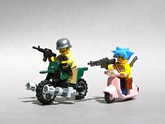 Zombie Hunters (Dunechaser) Tags: lego zombie apocalypse motorcycles bikes bikini motorbikes bikers minigun arealight postapocalyptic brickarms postapoc brickforge apocalego zombieapocafest2009