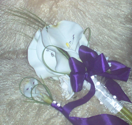 *emma s 345 po* brides calla lily handtied & grooms buttonhole in ivory/purple & silver theme by you.
