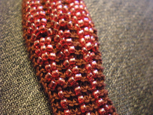 Knitted beaded bracelet