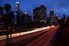 Downtown Los Angeles, Dusk (segamatic) Tags: longexposure light sky tree cars night clouds canon eos losangeles downtown cityscape traffic dusk 110 trails silhouettes freeway skyscapers canonef24105mmf4lisusm mywinners photofaceoffwinner pfogold pfosilver 5dmarkii 5dmkii