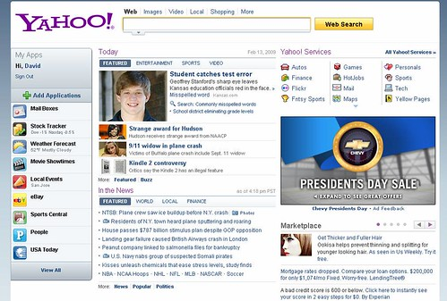 Yahoo's Newer Homepage