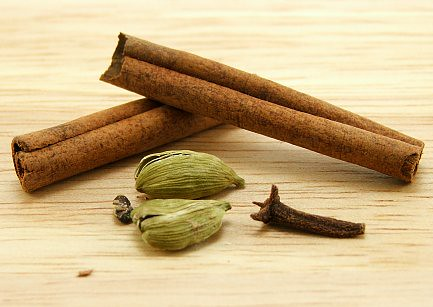 Cardamom Pods, Cinnamon Stick, and Clove