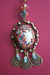 mermaid dream pendant front view (Chili Crab) Tags: flowers blue brown bronze gold grey one chili crystal handmade ooak crab jewelry kind fimo clay etsy brass 2009 pendant filigree polymer swarovsky
