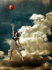 haley's balloon (ha!photography) Tags: red sky selfportrait clouds air balloon autoretrato floating kidnapping spoof bully dangling donhertzfeldt haleys billys haphotography