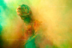 No Way Out ( Poras Chaudhary) Tags: portrait india green colors saint yellow festival holi sadhu nikond3