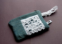 Lace Ruffle Pouch (Tiny House) Tags: linen lace purse pouch zipper denim ruffle