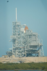 Shuttle on launch pad at Kennedy Space Center