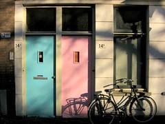 - doors - (Jacqueline ter Haar) Tags: pink light shadow bicycle blauw doors colours pastel fiets roze deuren