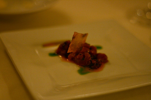 Lamb Tartar with roasted red pepper sauce
