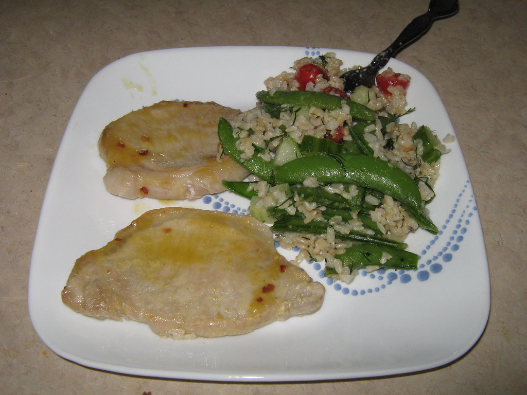Dijon Pork Cutlets & Brown Rice Salad with Tomatoes and Snap Peas