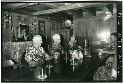 Edward Beckwith, David Fairchild, Anne Archbold, Ted Kilkenny, and Marian Fairchild dining aboard the Cheng Ho