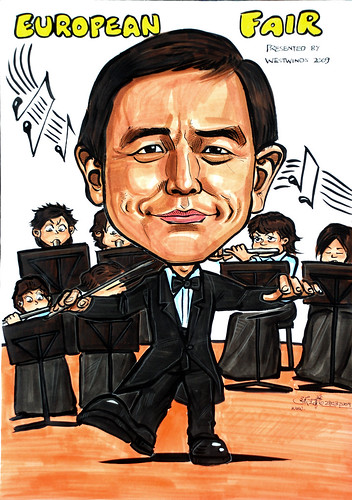 Caricature of a music conductor
