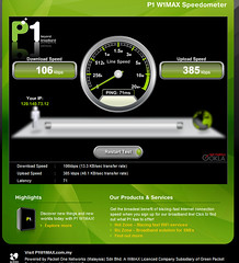 """blazing fast"" p1 200 rm per month 2500 kbps in reality only gives creeping slow 106kb/s (jan geirnaert in malaysia) Tags: screenshot snagit fastinternet p1wimax p1commy p1slow slowwimax"