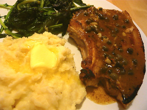 Pork chops with capers and garlic