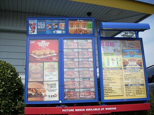 Burger King drive-thru menu