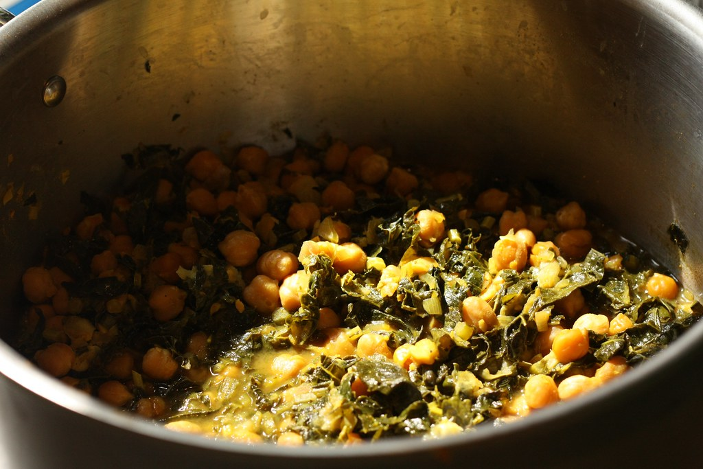 Curried kale and chickpeas.