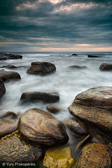 Bungan Beach (-yury-) Tags: ocean longexposure morning sea sky beach rock stone clouds sunrise sydney wave australia nsw bungan supershot    abigfave anawesomeshot ultimateshot
