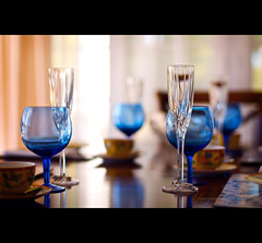 T44 (rc*d) Tags: china birthday blue table chairs bokeh diningroom curtains teacups casual plates drapes afternoontea porcelain placemats goblets wineglasses cobalt sheers lasiesta titleforourpartywasinspiredbyanepisodefromthejeffersons teaforfour tackyturkeyteaparty recessionistas
