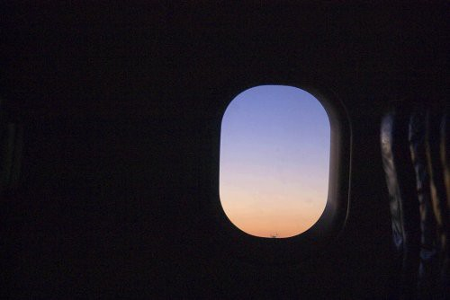 Airplane Window at sunset