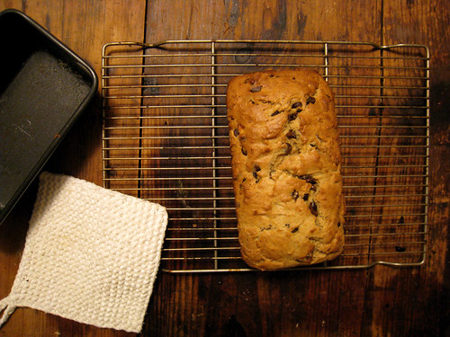 banana chocolate chip bread out of the oven
