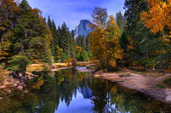 Yosemite's Half Dome in Autumn (hdr) (don j schulte @ oxherder arts) Tags: ca autumn mountain mountains nature water rock river nationalpark hiking merced hike sierra worldheritagesite yosemite granite halfdome yosemitenationalpark hdr mercedriver usnationalpark mountainstream photomatix americanhikingsociety sentinelbridge sierrahighcountry 3exp pixelmator vosplusbellesphotos oxherder
