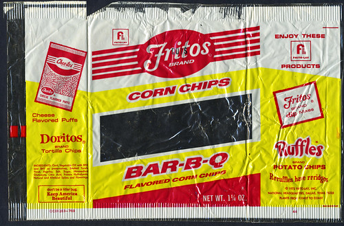 Frito-Lay - Fritos Bar-B-Q flavored corn chips - window bag - 1970