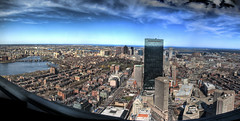 Eye on Boston Down Town (Werner Kunz) Tags: city blue sky urban panorama usa cloud sun white building tower boston skyline clouds america photoshop john river landscape ma town us nikon downtown unitedstates pano massachusetts centre charlesriver cyan newengland himmel wolken wideangle center american northamerica 40 blau hancock amerika zentrum sonne weiss dri prudential hdr backbay beaconhill prudentialcenter hdri werner stich beantown stiches skyscrapper gettyimage johnhancocktower kunz photomatix nordamerika vereinigtestaatenvonamerika 20fav colorefex abigfave anawesomeshot nikond40x thebestofday gnneniyisi topazadjust updatecollection 3x3pics werkunz1