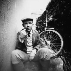 benny (nhungsta) Tags: friends portrait blackandwhite man bicycle vintage pinhole papernegative portfolio lensless nhungsta nhungdang biscuitcam