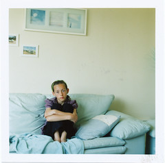 Louisa (crop) (Miss Day ) Tags: girl youth darkroom mediumformat loneliness bodylanguage bronica analogue louisa growingup 120mm