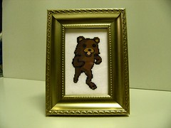 Pedobear Cross Stitch in the frame