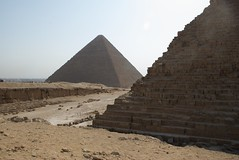 Khafre and Khufu pyramids (future15pic) Tags: africa travel vacation history sphinx museum architecture temple ancient rocks desert may egypt cairo massive egyptian pyramids archeology 2009 giza khufu pharoh menkaure kharfre