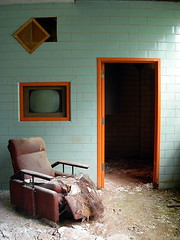 Alone with my thoughts. (ExcuseMySarcasm) Tags: orange brick television mi hospital grate decay michigan teal doorway armchair trim abandonment regional psychiatric northville institution nph nrph excusemysarcasm