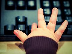 Expert typist (Ryan Smedstad) Tags: keyboard fingers rightarrow zd50mm davincisciencecenter toddlertypist