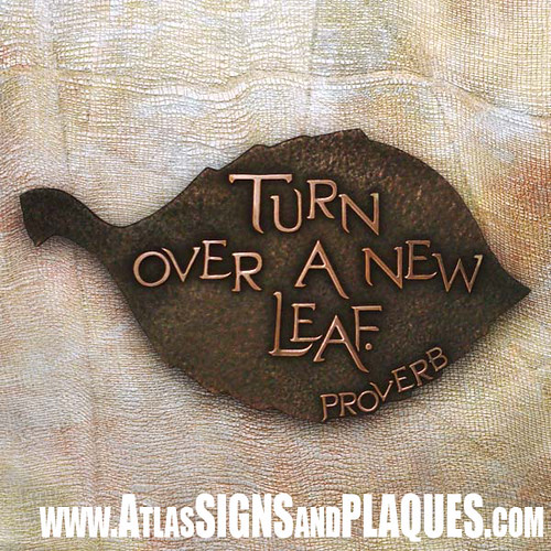 Copper Leaf Phrase Plaque