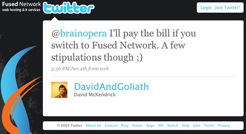 David McKendrick: @brainopera I'll pay the bill if you switch to Fused Network