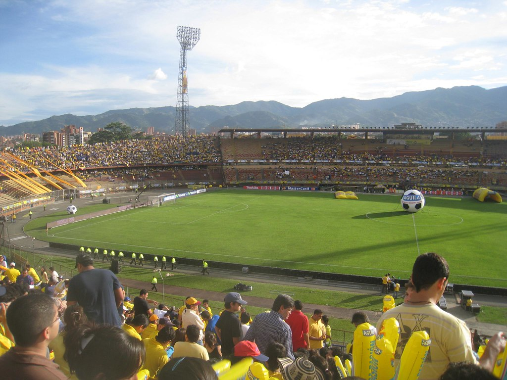 photo essay soccer around the world mountains former a picturesque backdrop to medellin s soccer stadium which played host to a 2010