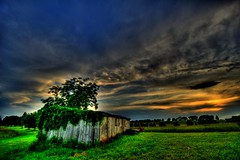 Sunset has come (retemplatized) Tags: sunset beautiful field clouds barn photography skies farm ominous hdr darkclouds mypassion naturepeople flickrsbest hdrdreams