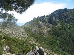 Traversée vers Bocca di Funtanella : le petit col intermédiaire et l'arête de montée vers Morello