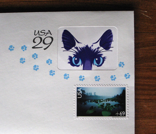 Pre-stamped cat envelope