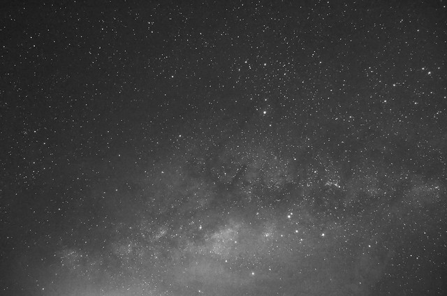 Milky Way over Beris III in BnW