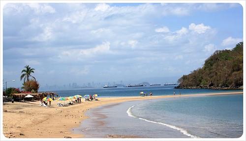 Taboga Island beach and Panama City in the background