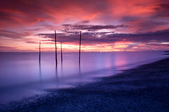 Sunset (syish adam) Tags: sunset sea black color colour green beach coast nikon purple picture malaysia slowshutter penang tobacco pantai kedah perlis cokin d80 gnd8 tanjungdawai