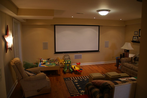 Finished Home Theater with Screen Down