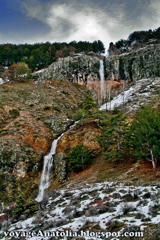 Waterfalls of Melting Snow in Spring